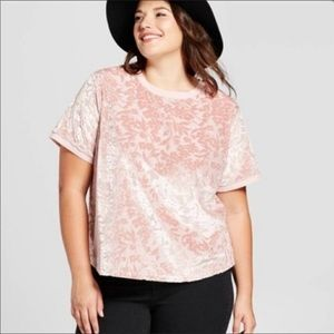 A New Day Pink Floral Velvet Top